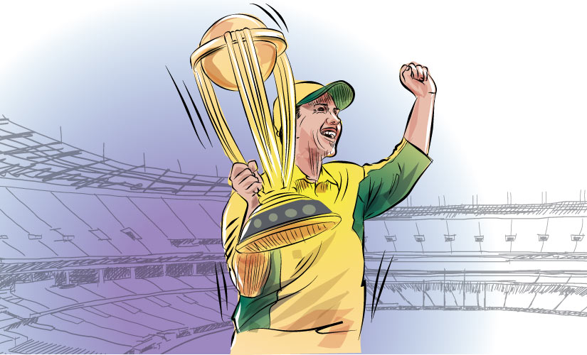 'For Ponting, to do what he did in the final was very, very special.' Artwork by Rajan Gaikwad