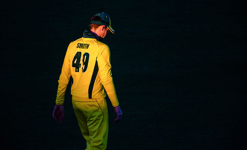 Australia's Steve Smith stands in the field during a World Cup cricket warm-up match between Australia and New Zealand in Brisbane on May 10, 2019. (Photo by Patrick HAMILTON / AFP) / IMAGE RESTRICTED TO EDITORIAL USE - STRICTLY NO COMMERCIAL USE