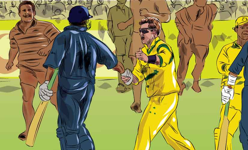 New Zealand's Roger Twose is congratulated by Australia's Shane Warne after the Kiwis beat Australia in 1999 World Cup. Artwork by Rajan Gaikwad