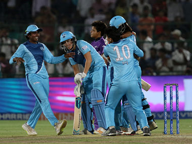 Supernovas players celebrates after winning the final of the Women's T20 Challenge, 2019 between the Supernovas and Velocity held at the Sawai Mansingh Stadium in Jaipur on the 11th May 2019 Photo by: Faheem Hussain /SPORTZPICS for BCCI