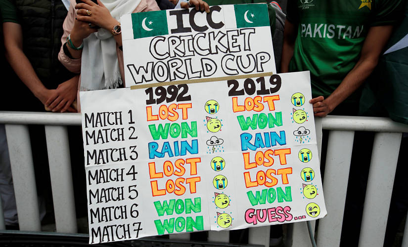 Pakistan fans with the banner of the bizarre similarities between 1992 and 2019 World Cups. Reuters