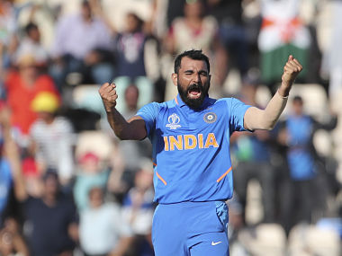India's Mohammed Shami celebrates taking a hat-trick against Afghanistan. AP