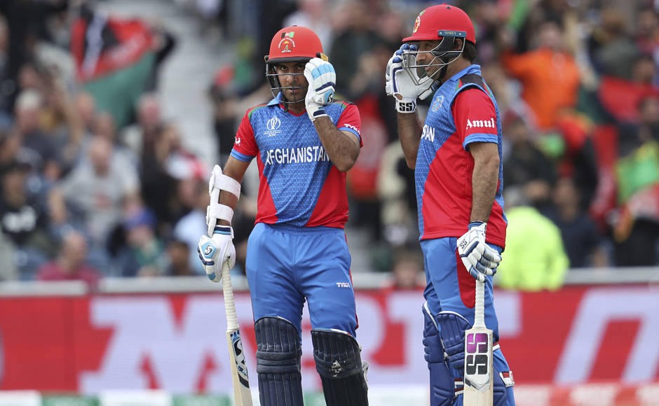 Afghanistan's Hashmatullah Shahidi (Left ) and Asgar Afghan built a 94-run stand for the fourth wicket. AP