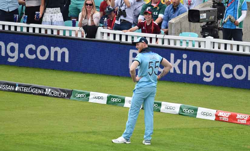 Even Ben Stokes couldn't believe he took that catch. AFP