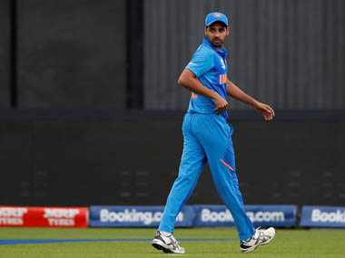Bhuvneshwar Kumar walks off after getting injured in India's World Cup encounter against Pakistan. Reuters