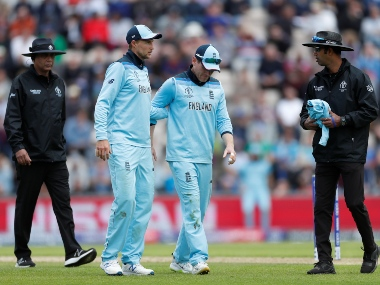 England captain Eoin Morgan was forced to leave the field against West Indies with a back spasm. Reuters