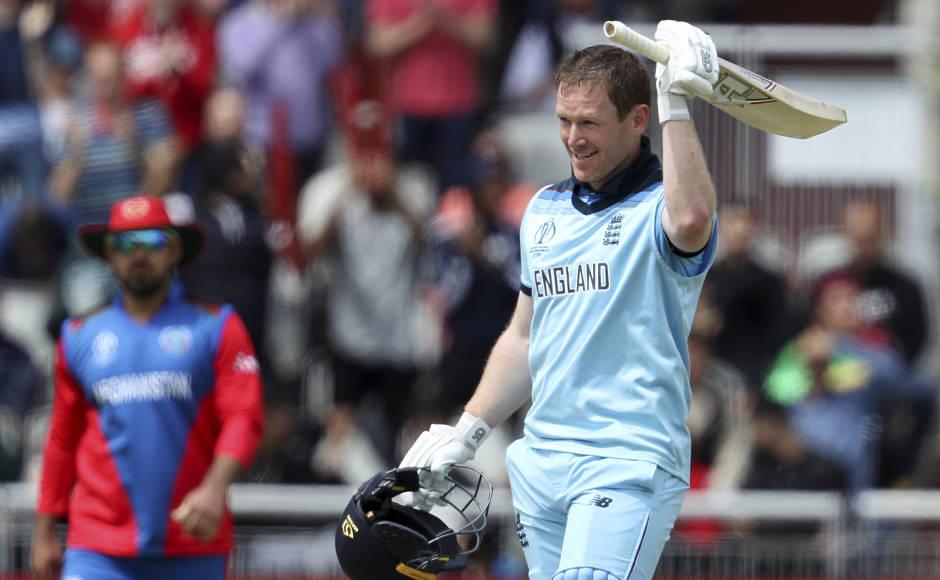 England skipper Eoin Morgan celebrates after scoring a century during their ICC Cricket World Cup clash against Afghanistan. The hosts put up a mammoth total of 397-6, and comfortably defended that as they beat the minnows by 150 runs. AP