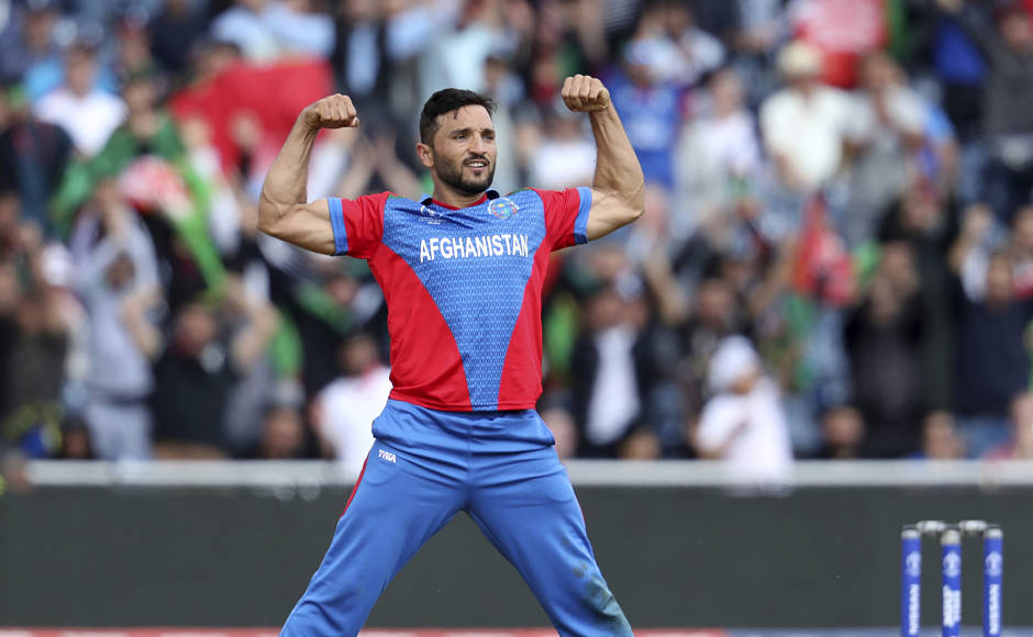 Afghanistan skipper Gulbadin Naib celebrates after dismissing Jonny Bairstow. AP