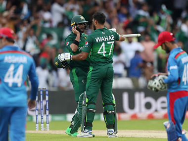 Cricket - ICC Cricket World Cup - Pakistan v Afghanistan - Headingley, Leeds, Britain - June 29, 2019 Pakistan's Imad Wasim and Wahab Riaz celebrate winning the match Action Images via Reuters/Lee Smith - RC1553557DD0