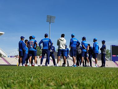 Team India members during a practice session ahead of the World Cup. Image courtesy: Twitter/@BCCI