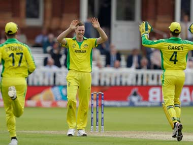 Jason Behrendorff celebrates picking up a wicket against England. AP