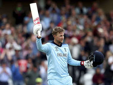 England's Joe Root raises his bat to celebrate scoring a century during the Cricket World Cup match between England and Pakistan at Trent Bridge in Nottingham, Monday, June 3, 2019. (AP Photo/Rui Vieira)