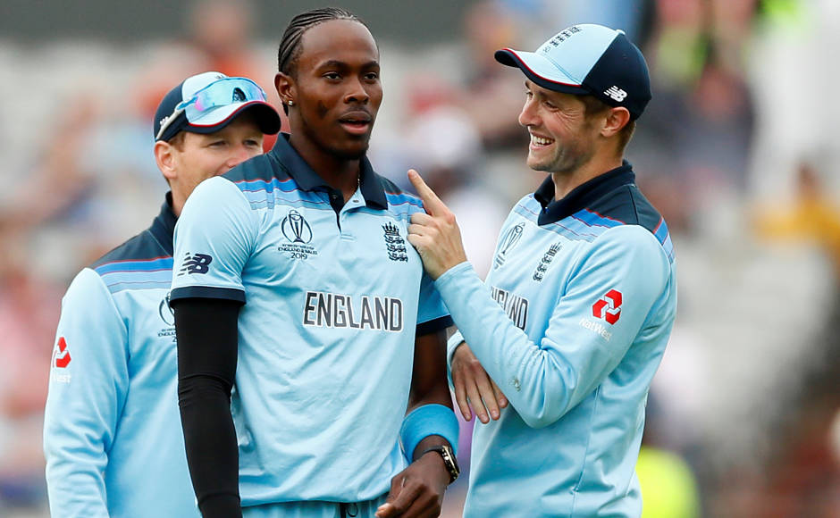 England's Jofra Archer reacts after dismissing Hashmatullah Shahidi for 76 runs. AP