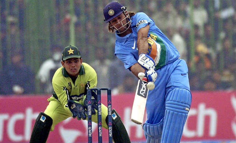 MS Dhoni announced his arrival with a memorable ton in Vizag. Here, he punishes Pakistan in an ODI in Peshawar in 2006. AFP