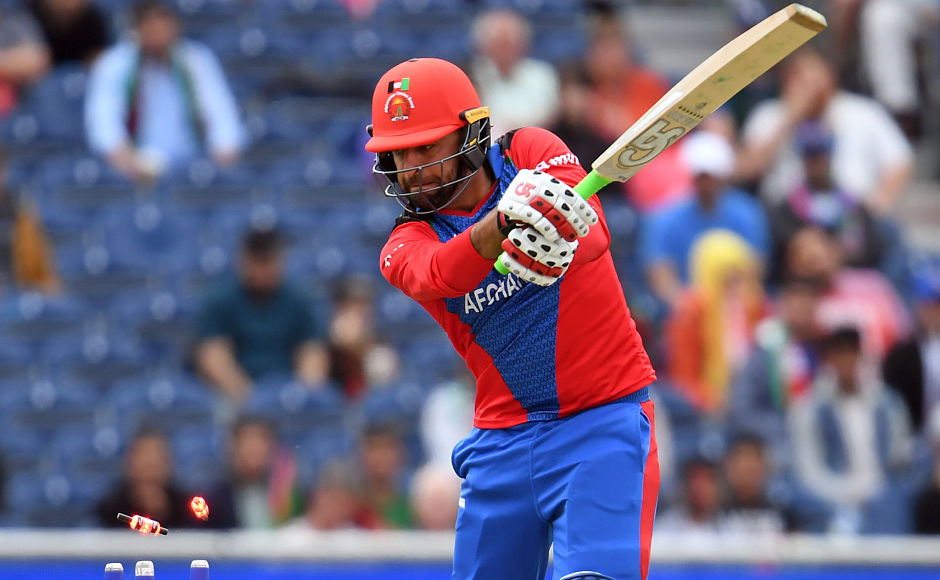 Afghanistan's Noor Ali Zadran is clean bowled as the bails are seen flying away. Jofra Archer removed the 30-year-old for a duck in the second over of the run-chase. AFP