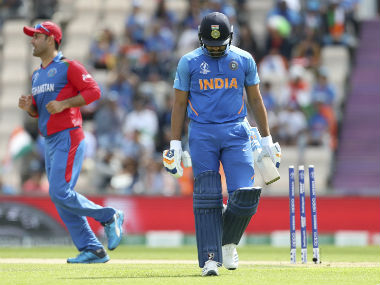 Rohit's weakness to the wrong 'un should encourage England to set the leg-stump trap early. AP