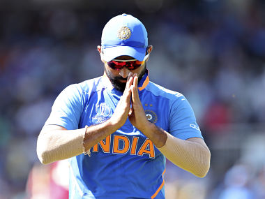 India's Mohammed Shami acknowledges the applause from the crowd after taking two wickets against West Indies. AP