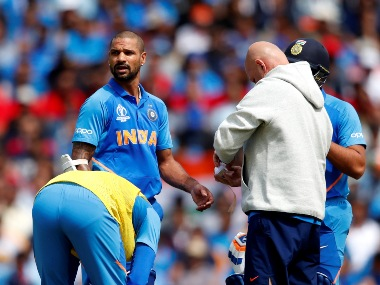 Shikhar Dhawan received treatment during India's match against Australia. (AFP)