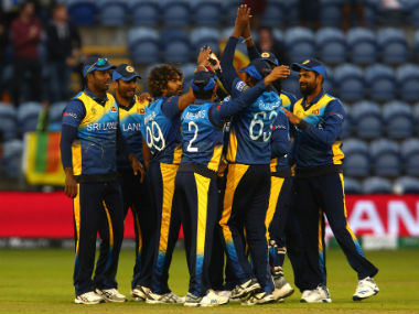Sri Lankan players celebrate after beating Afghanistan. AFP