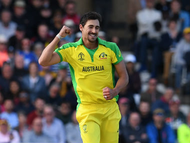 Australian pacer Mitchell Starc celebrates after picking up a wicket. AFP