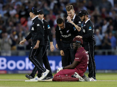 West Indies' Carlos Brathwaite looks dejected after losing his wicket and the match. Reuters