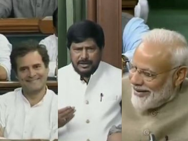 I congratulate you for getting to sit in Opposition Ramdas Athawales dig at Congress in Lok Sabha evokes laughter from Modi Rahul Sonia