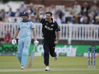 New Zealand's Colin de Grandhomme celebrates after taking a wicket in the final against England. AP