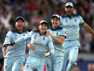 England players celebrate after beating New Zealand in the final of the ICC Cricket World Cup at Lord's. AP