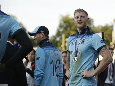 England's Ben Stokes stands on the field during the presentation ceremony at Lord's. AP