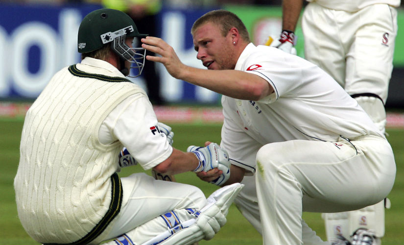 Andrew Flintoff consoles Brett Lee after England's nervy two-run win over Australia at Edgbaston in the 2005 Ashes. AFP