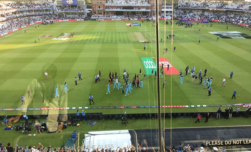 A view of England players taking a lap of honour after World Cup win, from the press box. Geoff Lemon