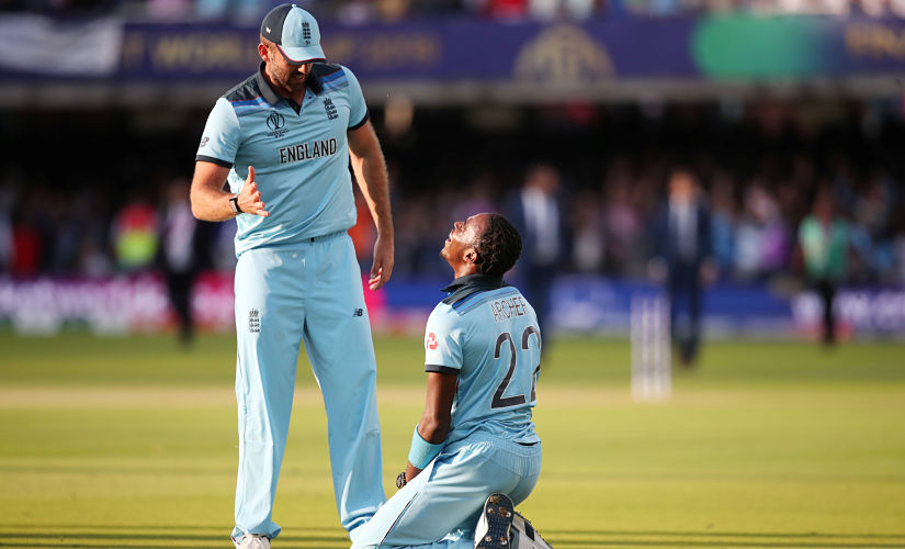 Cricket - ICC Cricket World Cup Final - New Zealand v England - Lord's, London, Britain - July 14, 2019 England's Liam Plunkett and Jofra Archer celebrate winning the World Cup after the super over Action Images via Reuters/Peter Cziborra - RC1405D87310