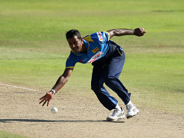 Sri Lanka bowler Nuwan Kulasekara fields off his own bowling during the second One Day International cricket match between South Africa and Sri Lanka at Kingsmead cricket ground on February 1, 2017 in Durban, South Africa. (Photo by ANESH DEBIKY / AFP)