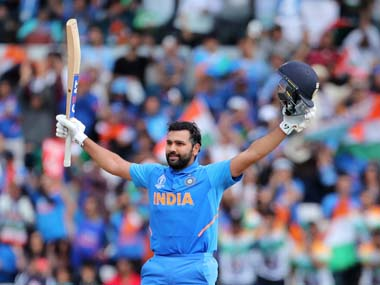 Rohit Sharma celebrates scoring his 5th century at the ICC Cricket World Cup 2019. AP