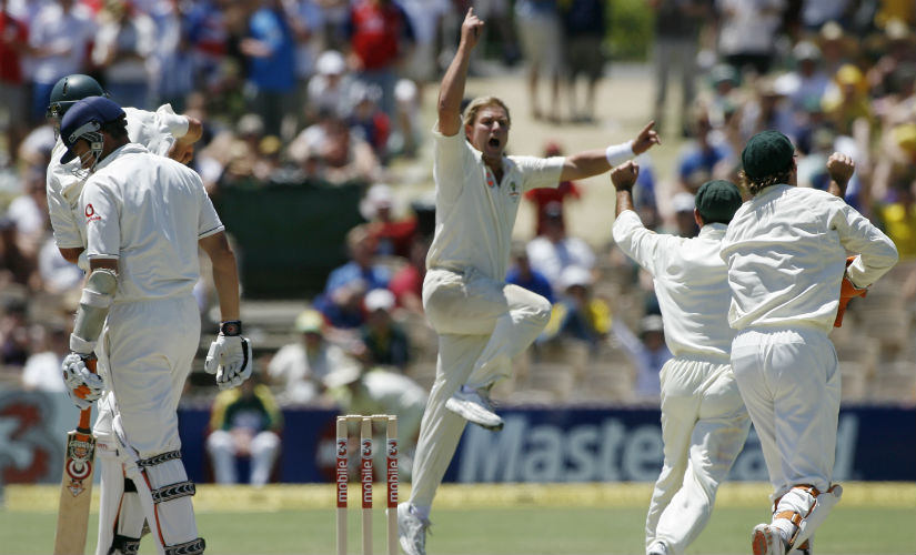 Shane Warne (4/49) helped dismantle England on the final day of the Adelaide Test in 2006-07 Ashes. Reuters