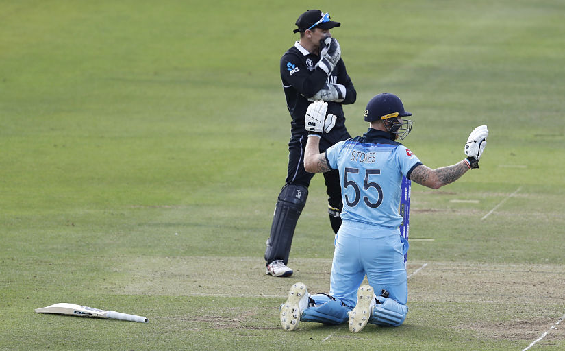 Ben Stokes holds up his hands apologetically after getting a 6 from overthrows. AP