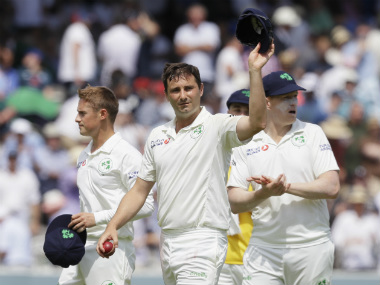 London-born Tim Murtagh waves to the Lord's crowd at the end of the England innings, the hosts bowled out for a lowly 85. AP