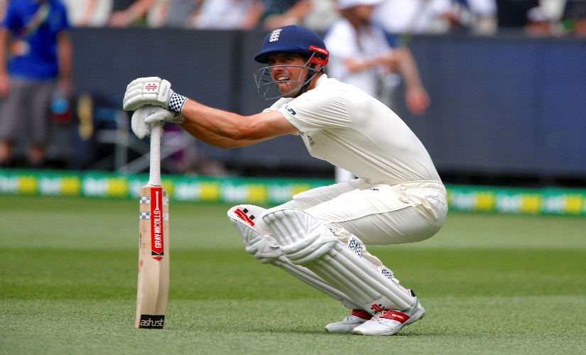 Alastair Cook stretches as he walks out to bat on the fourth day of the fourth Ashes Test. Reuters