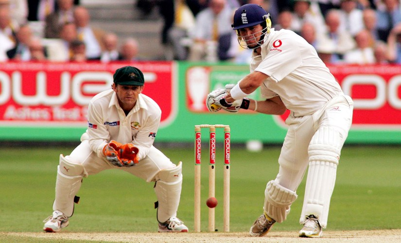 England's Kevin Peitersen drives a ball from Australia's Shane Warne during the first Test at Lord's. Reuters