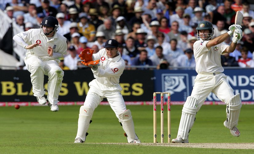 Ricky Ponting plays a shot during the third Test. AFP