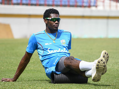 Keemo Paul of West Indies takes part in a training session two days ahead of the 3rd Test between West Indies and England at Darren Sammy Cricket Ground, Gros Islet, Saint Lucia, on February 7, 2019. (Photo by Randy Brooks / AFP)