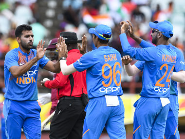Deepak Chahar (L) of India celebrates the dismissal of Sunil Narine during the 3rd T20i match against West Indies. AFP