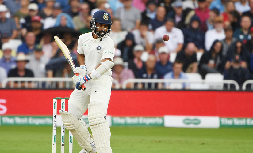 India's Ajinkya Rahane plays a shot during the third day of the third Test cricket match between England and India at Trent Bridge in Nottingham, central England on August 20, 2018. (Photo by Paul ELLIS / AFP) / RESTRICTED TO EDITORIAL USE. NO ASSOCIATION WITH DIRECT COMPETITOR OF SPONSOR, PARTNER, OR SUPPLIER OF THE ECB