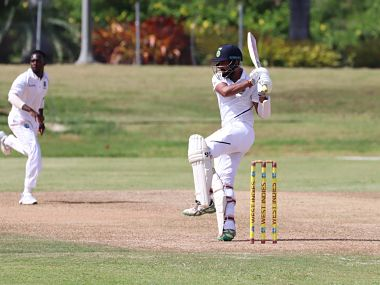 Cheteshwar Pujara scored a century on Day one of the practice match against West Indies A. Image courtesy: Twitter @BCCI
