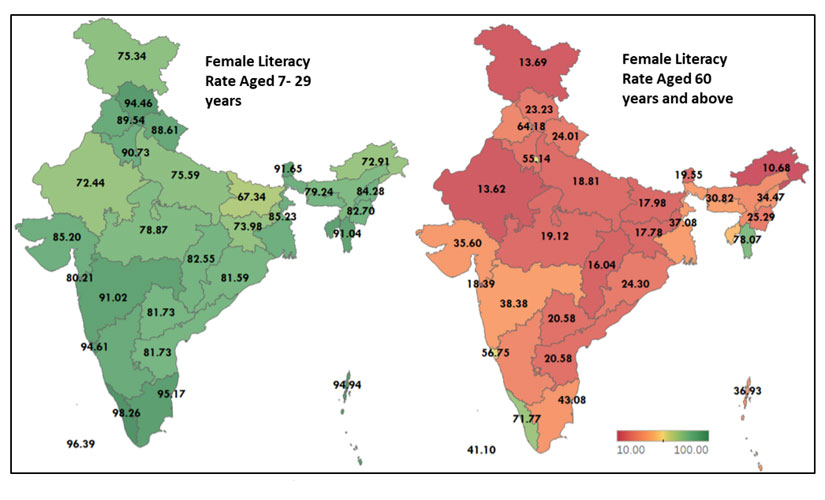 Indias female literacy has gone up but still 22 percentage points behind world average education among young women rising