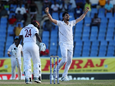 Ishant Sharma's 5/42 helped India reduce West Indies to 189/8 on Day 2 of Antigua Test. @BCCI
