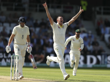Josh Hazlewood, pick of the Australian bowlers with 5/30, celebrates after dismissing Joe Root for a duck. AP