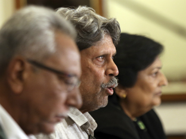 Anshuman Gaekwad, Kapil Dev and Shanta Rangaswamy address the media during the announcement of the new coach of the Indian cricket team. AP