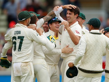 Australian players celebrate after winning the first Ashes 2019 Test at Edgbaston. Reuters
