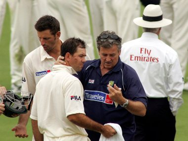 Ricky Ponting was left with a bloodied cheek after being hit by a Steve Harmison delivery on opening day of 2005 series. Reuters/Action Images / Jason O'Brien